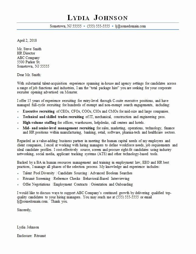 Cover Letter for Staffing Agency Elegant Recruiter Cover Letter Sample