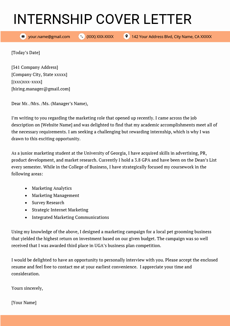 Cover Letter Of A Resume Inspirational Internship Cover Letter Example