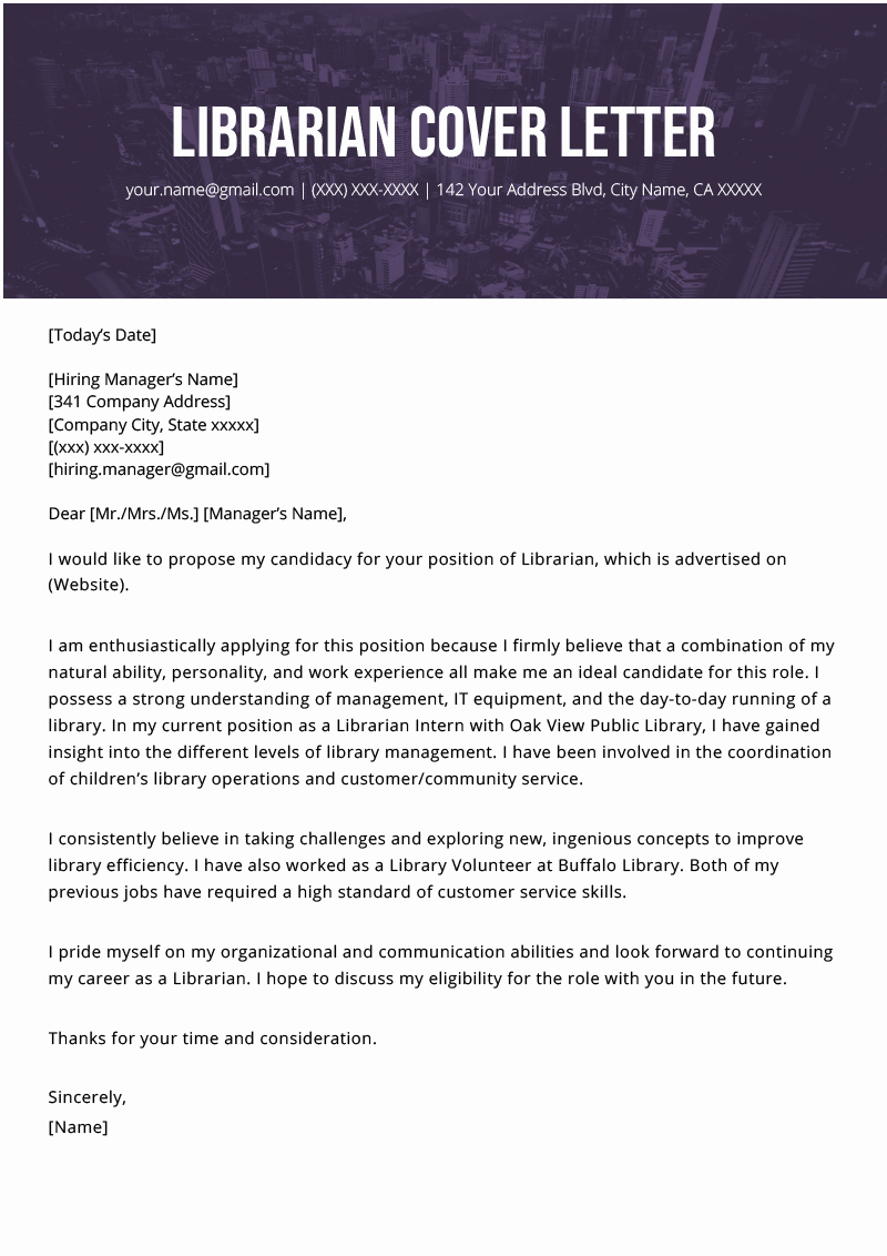 Cover Letter Of A Resume Inspirational Librarian Cover Letter Example