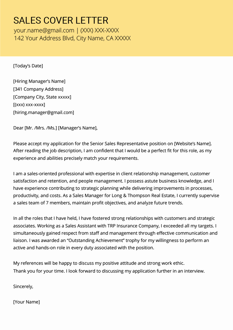 Cover Letter to A Resume Inspirational Sales Cover Letter Example