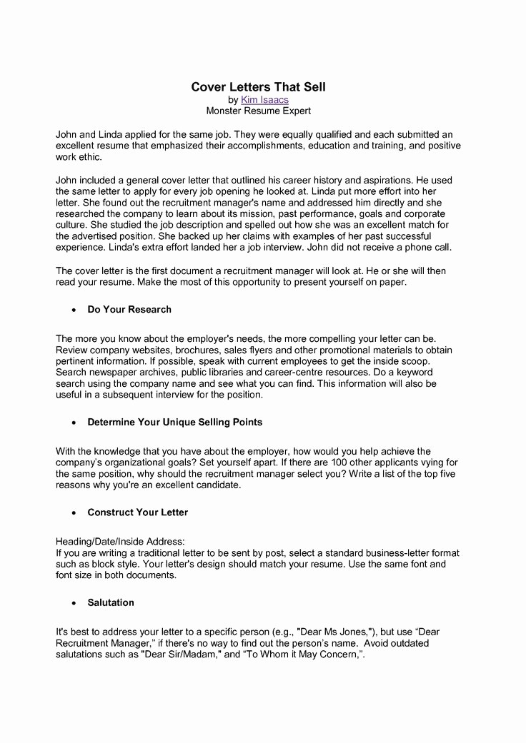 Cover Letter to A Resume Lovely Monster Cover Letter Free Download Monster Cover Letter