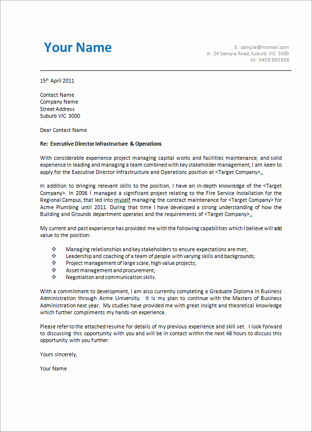 Cover Letter with Photo Template Awesome Cover Letter format Creating An Executive Cover Letter