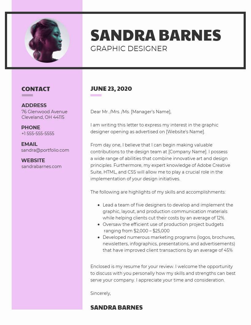 Cover Letter with Photo Template Best Of 10 Cover Letter Templates and Expert Design Tips to