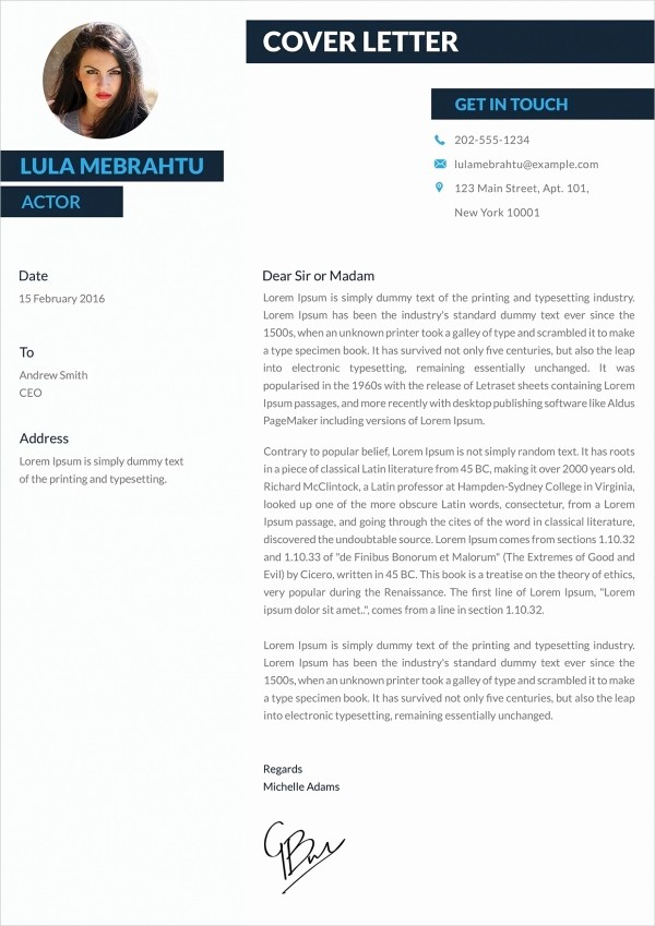 Cover Letter with Photo Template Best Of 21 Cover Letter Free Sample Example format