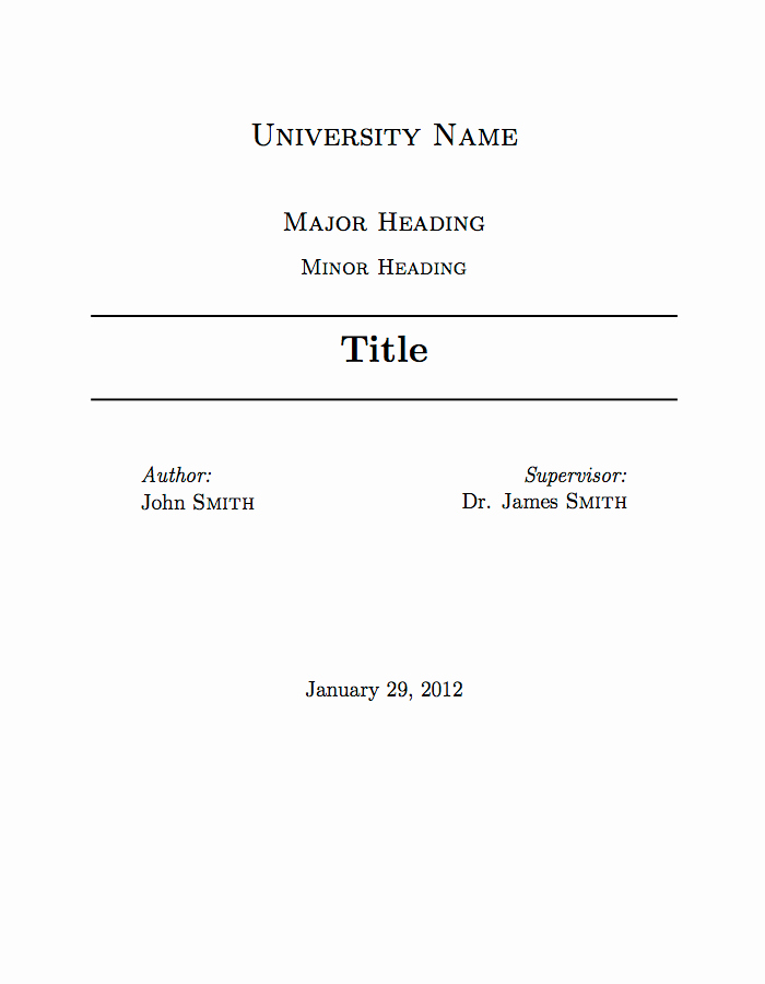 Cover Page for A Report Beautiful University assignment Title Page Template
