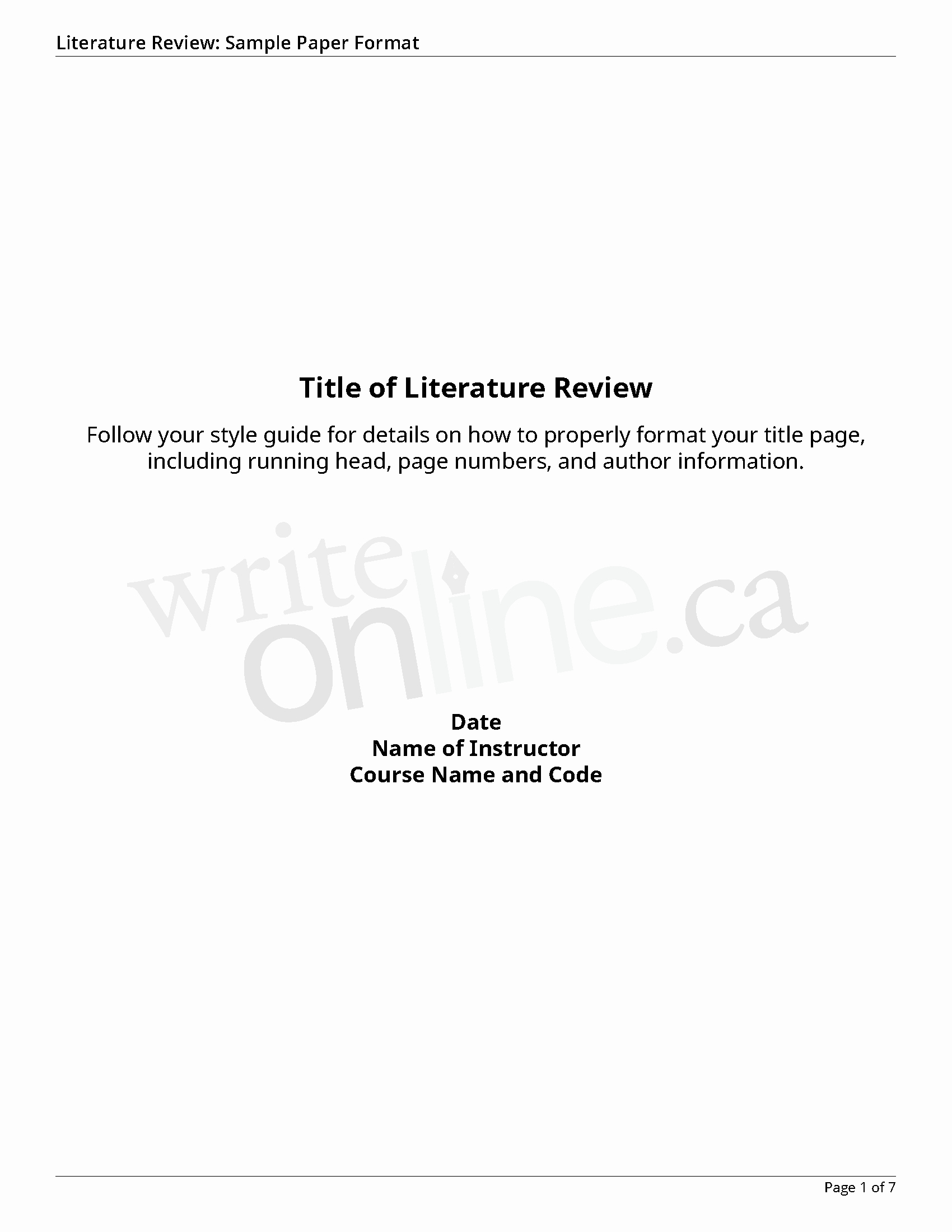 Cover Page for Literature Review New Write Line Literature Review Writing Guide Resources
