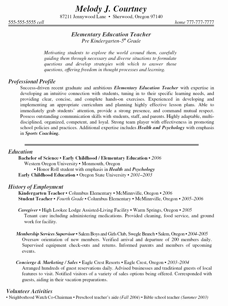 Cover Page for Resume Template Best Of Sample Teacher Resumes