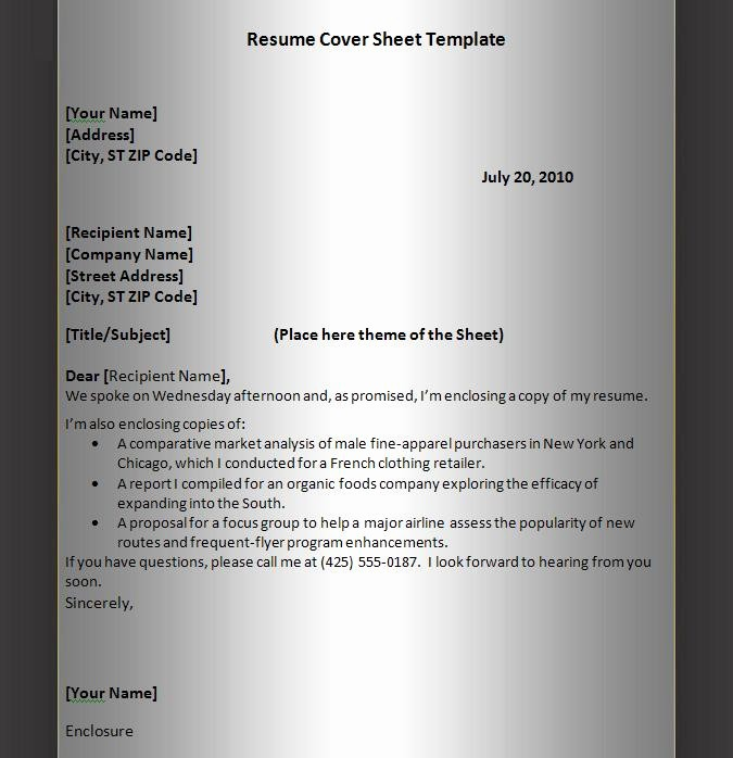 Cover Sheet Template for Resume Awesome Resume Templates