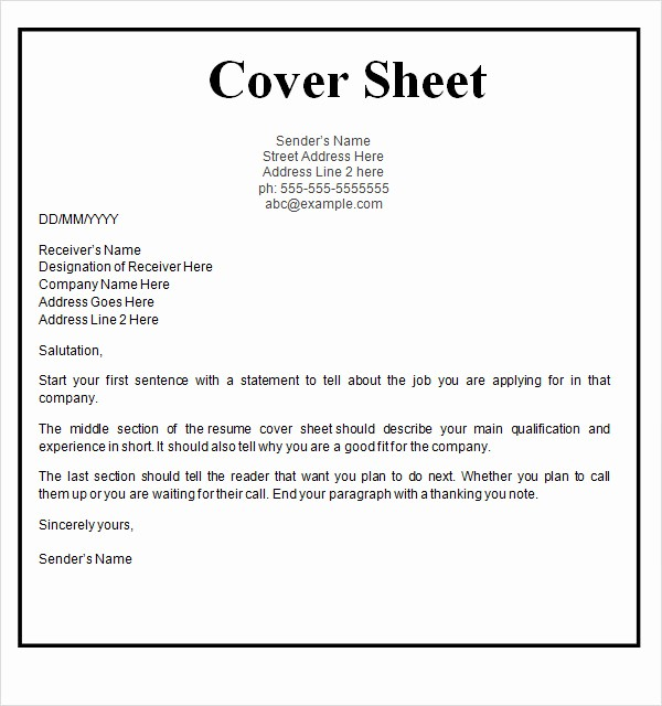 Cover Sheet Template for Resume Inspirational 17 Cover Page Template Free Download Fax Cover