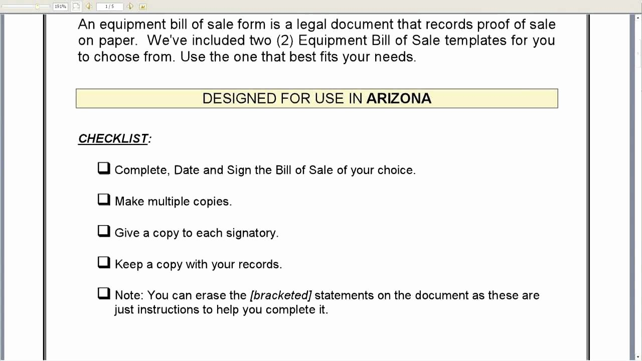 Create A Bill Of Sale Elegant Arizona Equipment Bill Of Sale