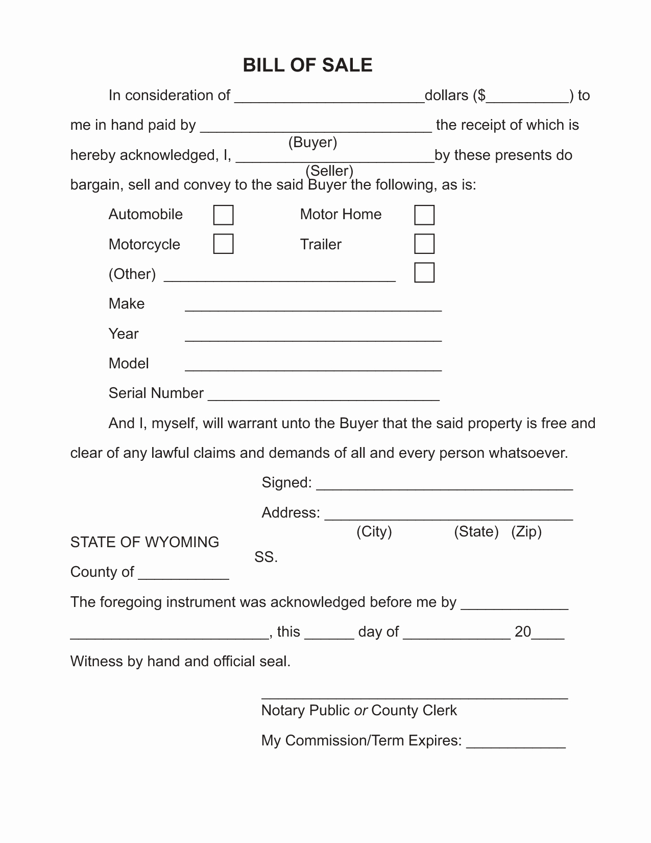 Create A Bill Of Sale Luxury Free Printable Bill Of Sale Camper form Generic