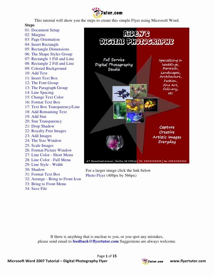 Create A Flyer In Word Fresh Microsoft Word 2007 Tutorial Digital Graphy Flyer