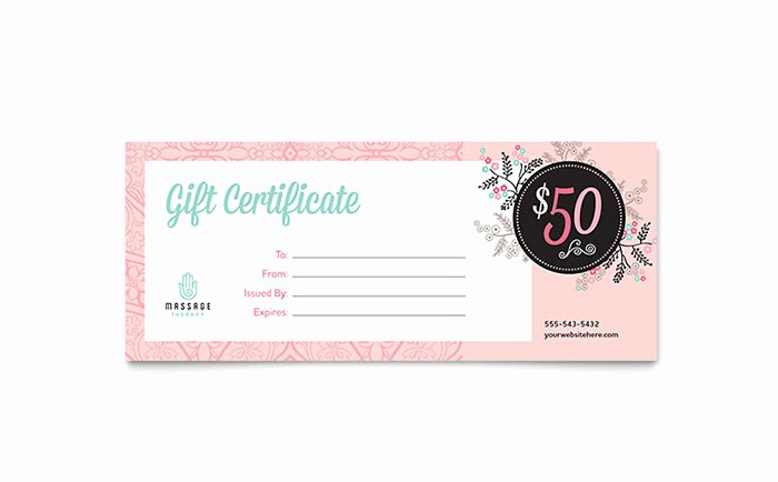 Create A Gift Card Free Beautiful Massage Gift Certificate Template Design