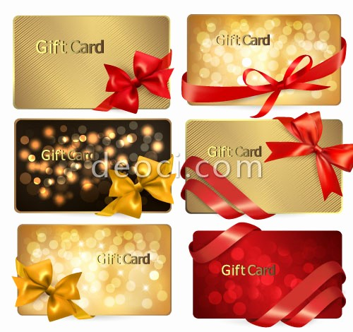 Create A Gift Card Free Best Of Vector Golden Ribbons Holiday Card Design Template