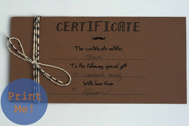 Create A Gift Card Free Unique the Petit Cadeau Printable Gift Certificates for Men