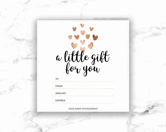 Create A Gift Certificate Free Fresh Printable Rose Gold Hearts Gift Certificate Template