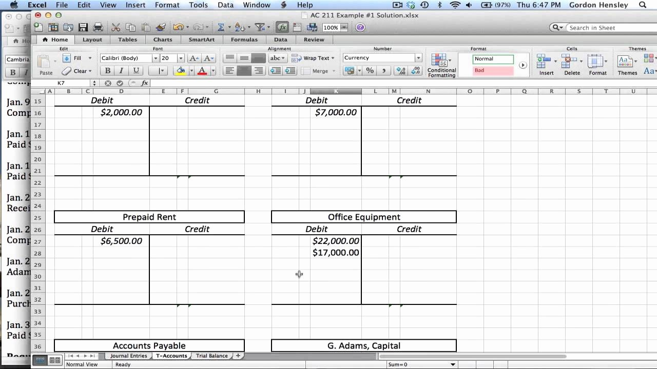 Create A Ledger In Excel Elegant Intermediate Journal Entries T Accounts and Trial