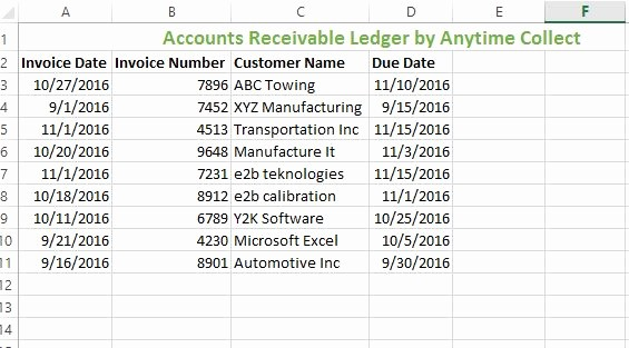 create accounts receivable ledger excel
