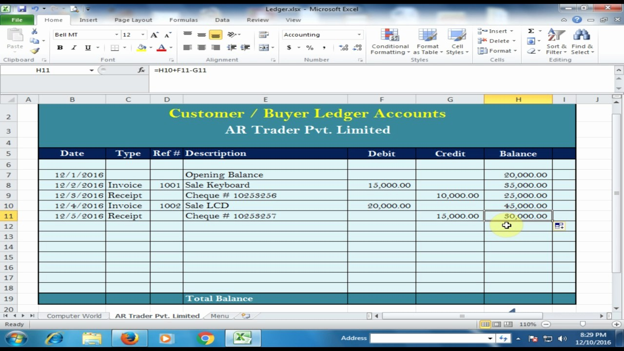 Create A Ledger In Excel New Customer Buyer Ledger In Microsoft Excel Ledger Part 2