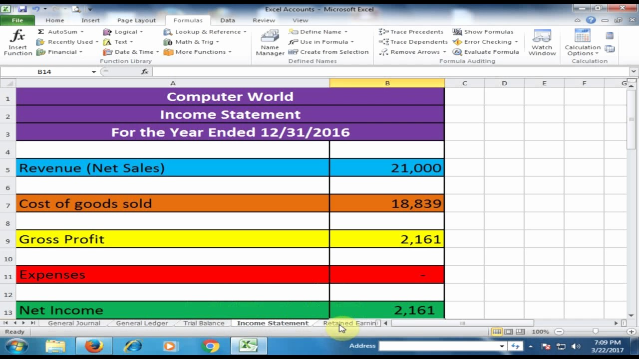 Create A Ledger In Excel New General Journal General Ledger Trial Balance In E