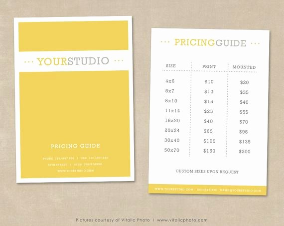Create A Price List Template Beautiful Graphy Pricing Guide Template Price List Shop