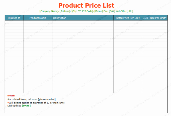 Create A Price List Template Beautiful top 5 Resources to Get Free Price List Templates Word