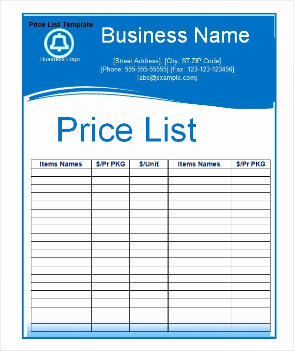 Create A Price List Template Best Of 6 Sample Price List Templates