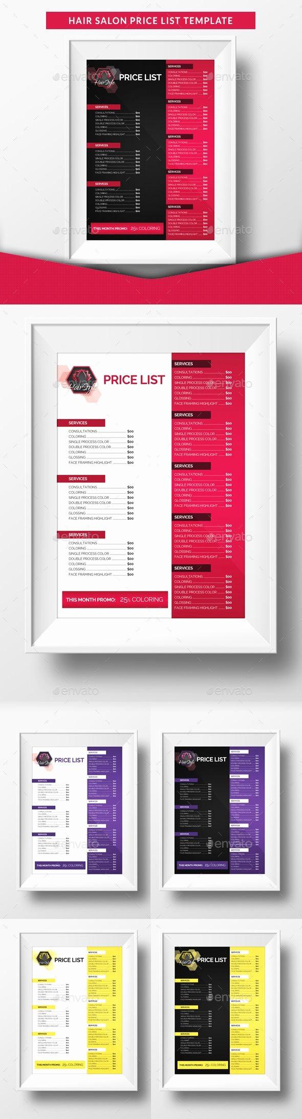 Create A Price List Template Elegant Hair Salon Price List Template