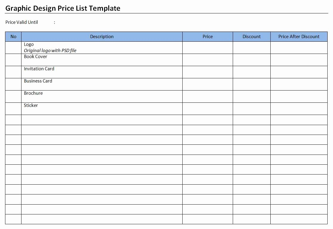 Create A Price List Template Inspirational Graphic Design Price List Template
