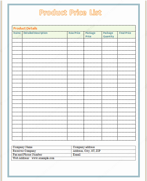 Create A Price List Template Lovely Free Printable Price List Templates