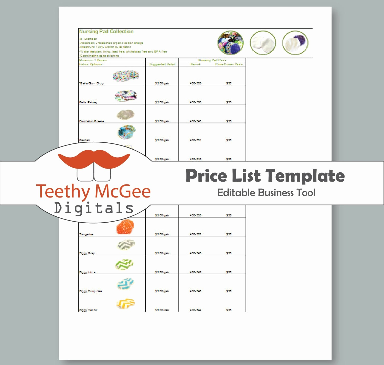 Create A Price List Template Lovely Price List Template Instant Download Editable for wholesale