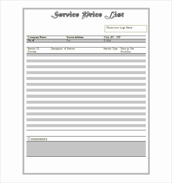 Create A Price List Template Luxury 25 Price List Templates Doc Pdf Excel Psd