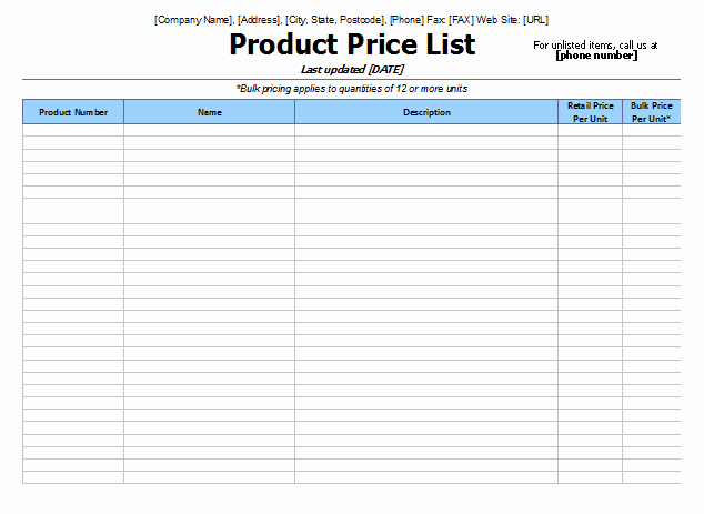 Create A Price List Template New 8 Price List Templates to Make Any Kind Of Price List