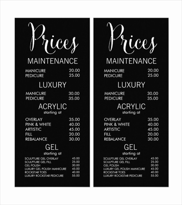 Create A Price List Template Unique 22 Price Menu Templates – Free Sample Example format