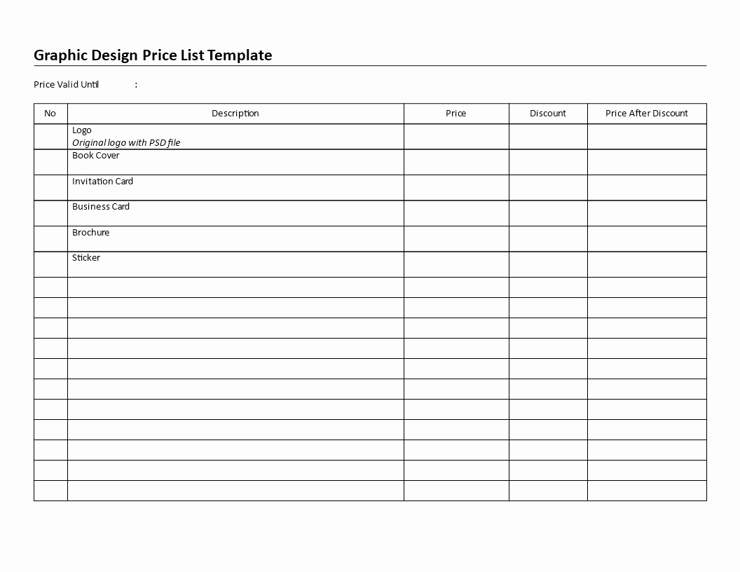 Create A Price List Template Unique Free Printable Graphic Design Price List