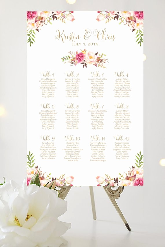 Create A Seating Chart Free Inspirational Wedding Seating Chart by Table Various by Charmingendeavours