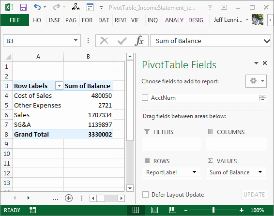 Create An Income Statement Online New Create An In E Statement with A Pivottable