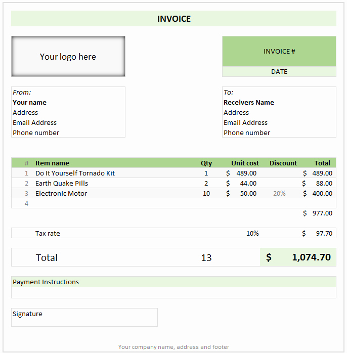 Create An Invoice Free Template Luxury Free Invoice Template Using Excel Download today