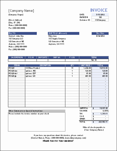 Create Invoice Template In Excel Lovely Vertex42 Invoice assistant Invoice Manager for Excel