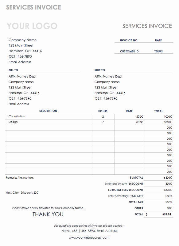 Create Invoice Template In Excel Luxury Free Excel Invoice Templates Smartsheet