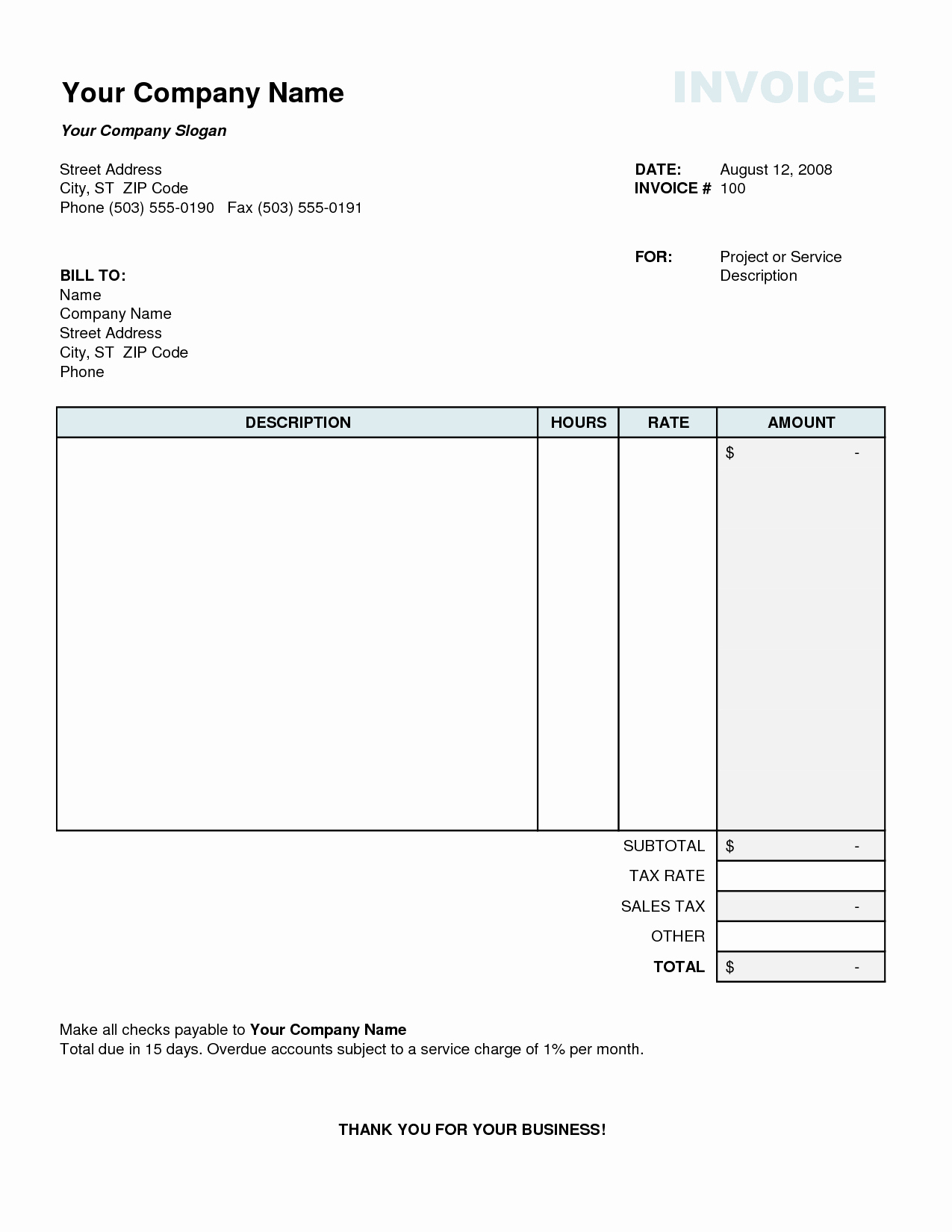 Create Invoice Template In Excel Unique Tax Invoice Template Excel
