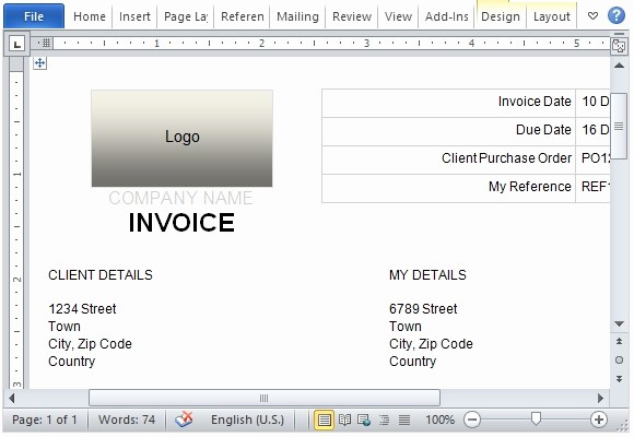 Create Invoice Template In Word Inspirational Free Invoice Template for Microsoft Word