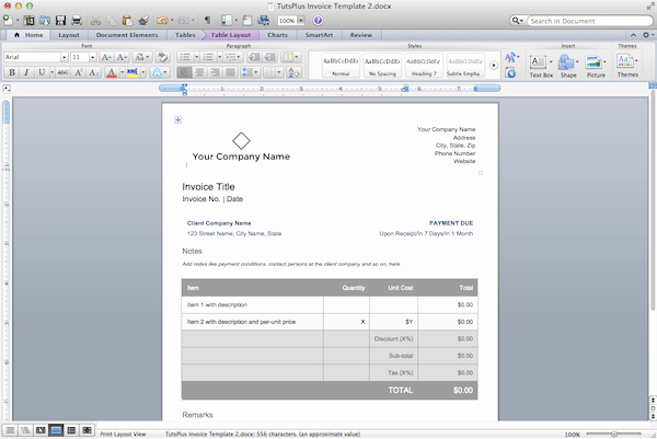 Create Invoice Template In Word New Making Invoice In Word