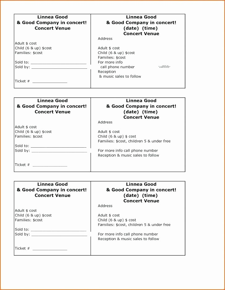 Create Numbered Tickets In Word Fresh Ticket Generator Template