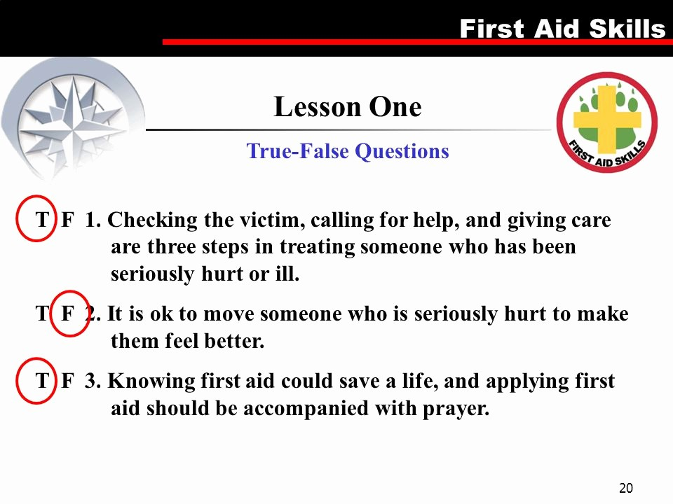 Create True or False Quiz Beautiful First Aid Merit Badge This is A 5 Lesson Plan which Can Be
