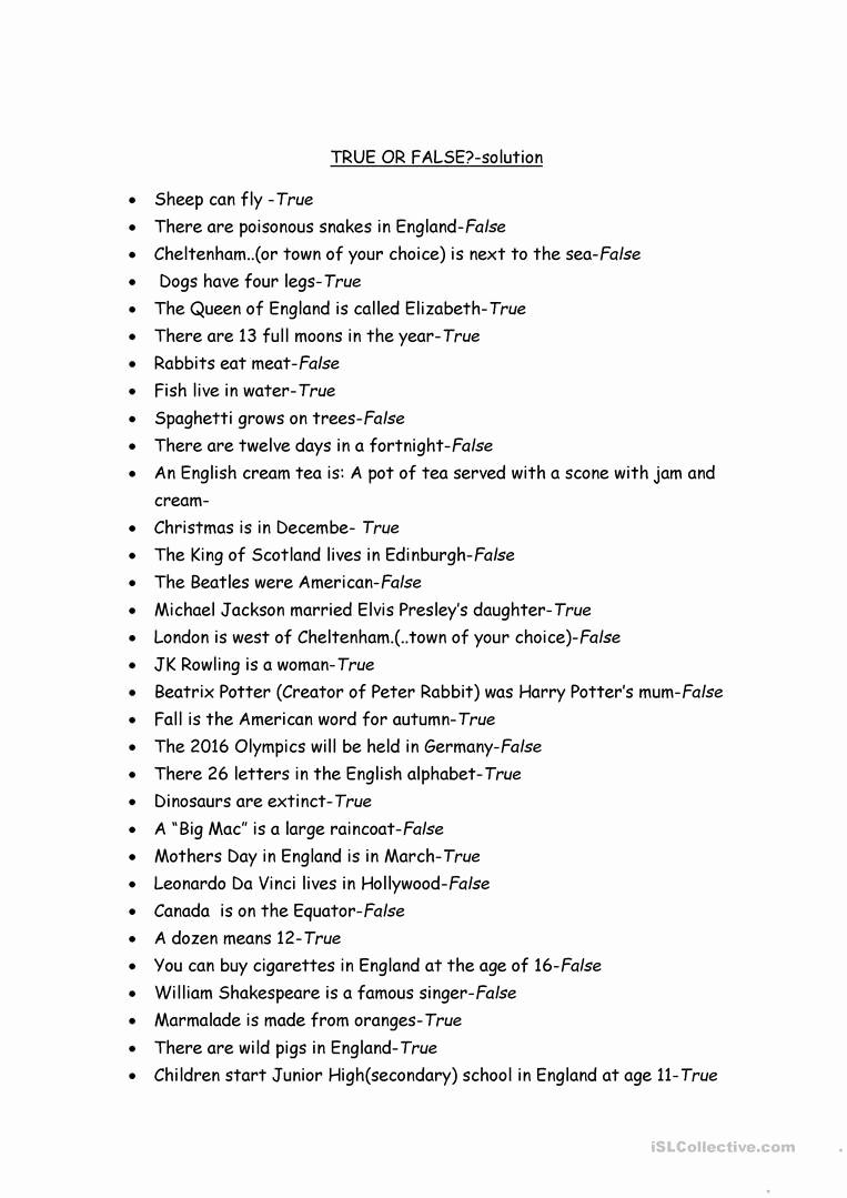 Create True or False Quiz Best Of True or False Questions Worksheet Free Esl Printable