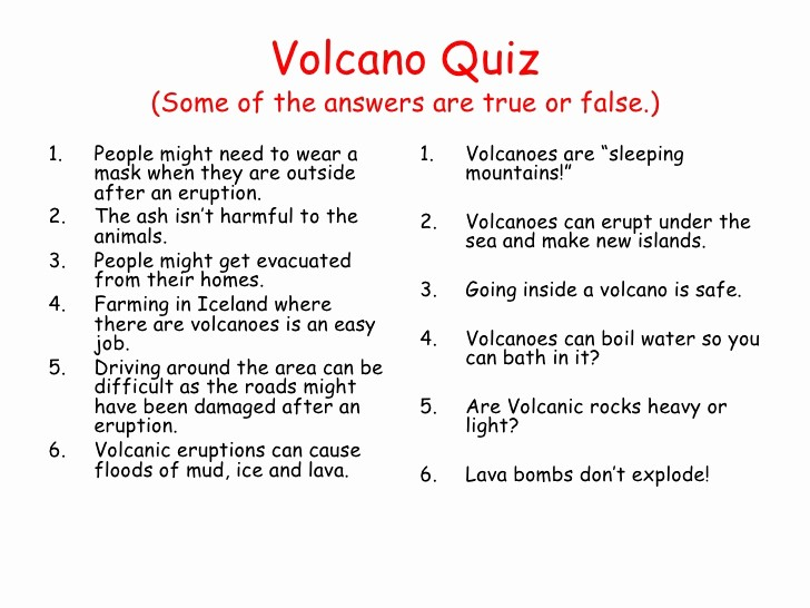 Create True or False Quiz Best Of Volcanoes