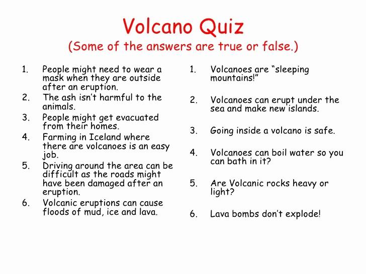 Create True or False Quiz Best Of Volcanoes