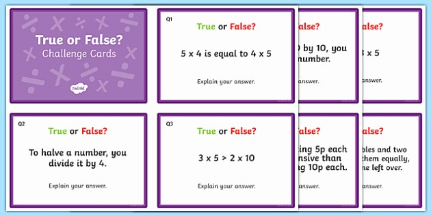Create True or False Quiz Lovely Multiplication and Division True or False Challenge Cards