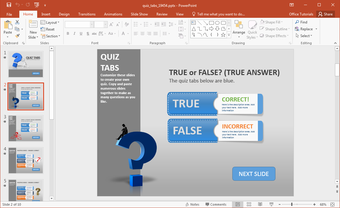Create True or False Quiz Unique Create A Quiz In Powerpoint with Quiz Tabs Powerpoint Template